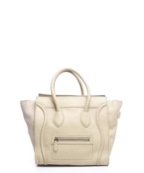 auth celine leather mini luggage shopper tote bag handbag black ivory