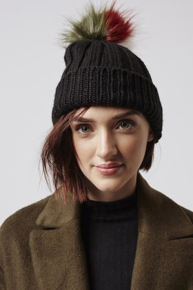 Lyst - TOPSHOP Multi-coloured Pom Beanie Hat in Black 60869409fd8