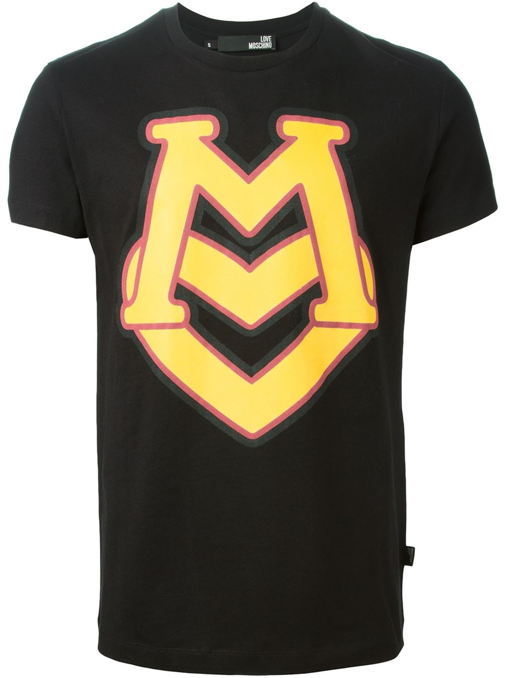 love moschino logo print t shirt in black for men lyst. Black Bedroom Furniture Sets. Home Design Ideas