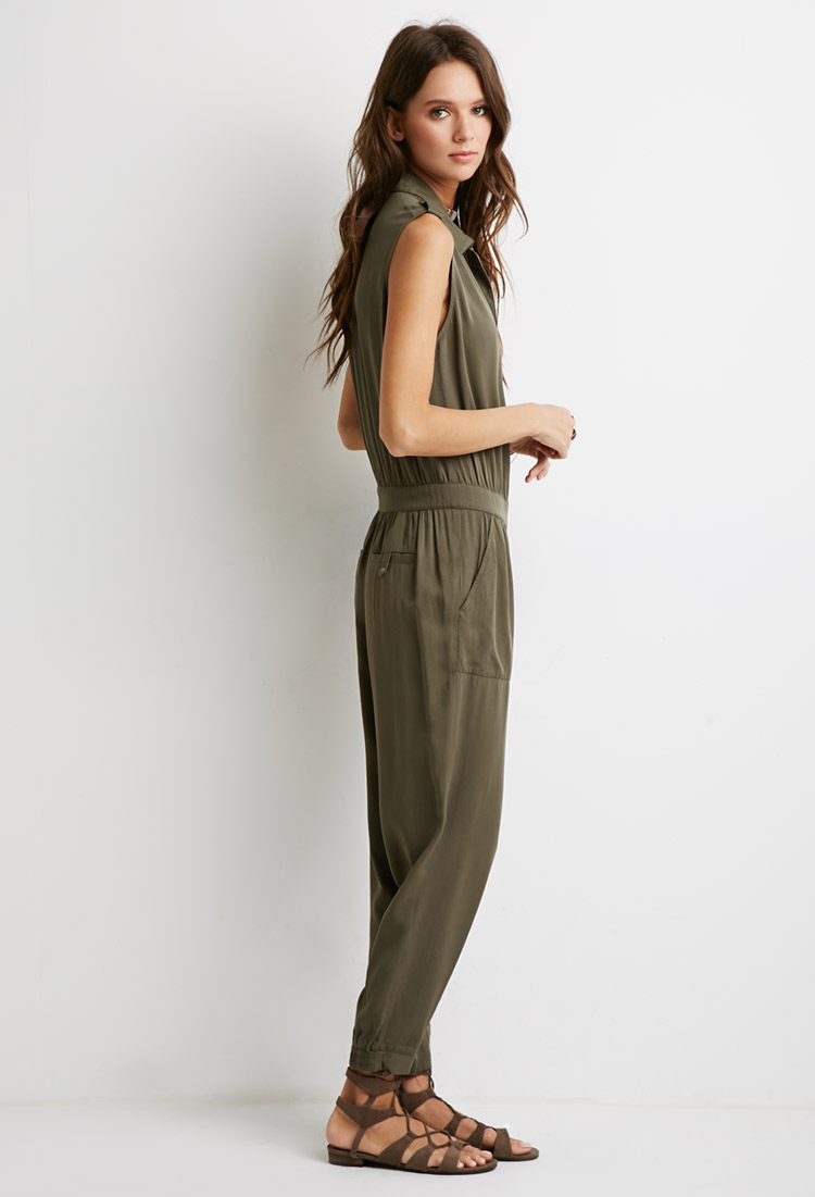 Lyst Forever 21 Classic Utility Jumpsuit In Green