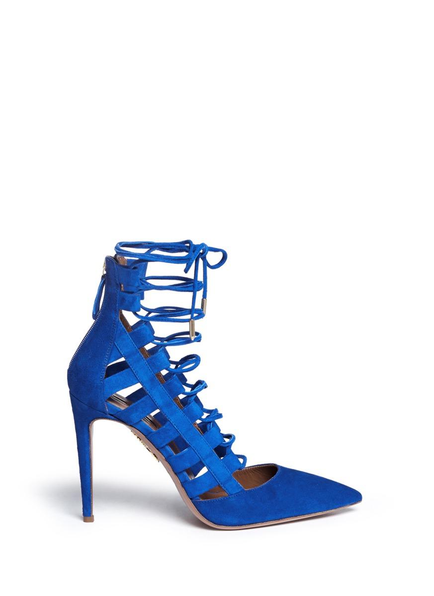 550558fdbc52 Lyst - Aquazzura Amazon Suede Lace-Up Pumps in Blue