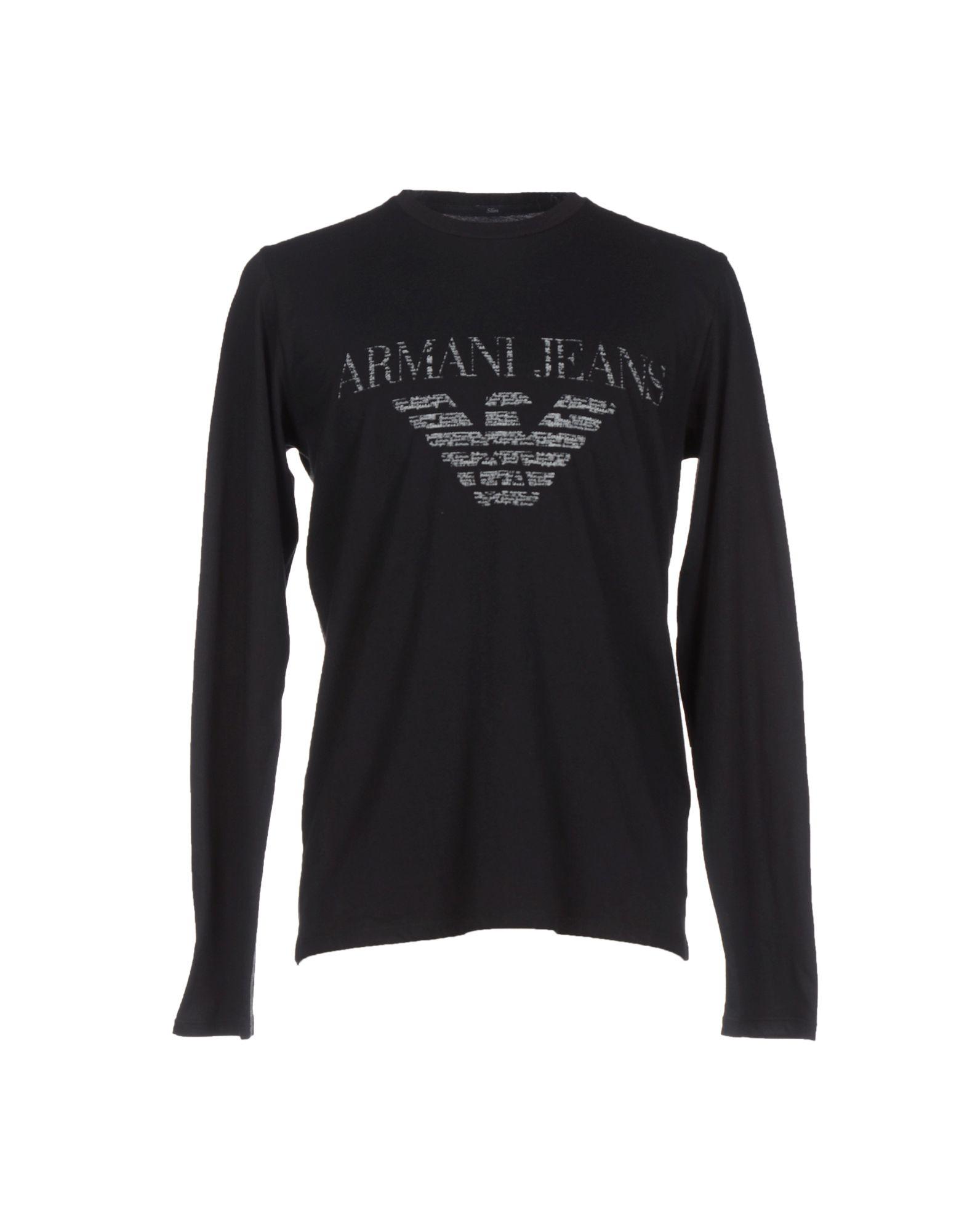 armani jeans t shirt in black for men lyst. Black Bedroom Furniture Sets. Home Design Ideas