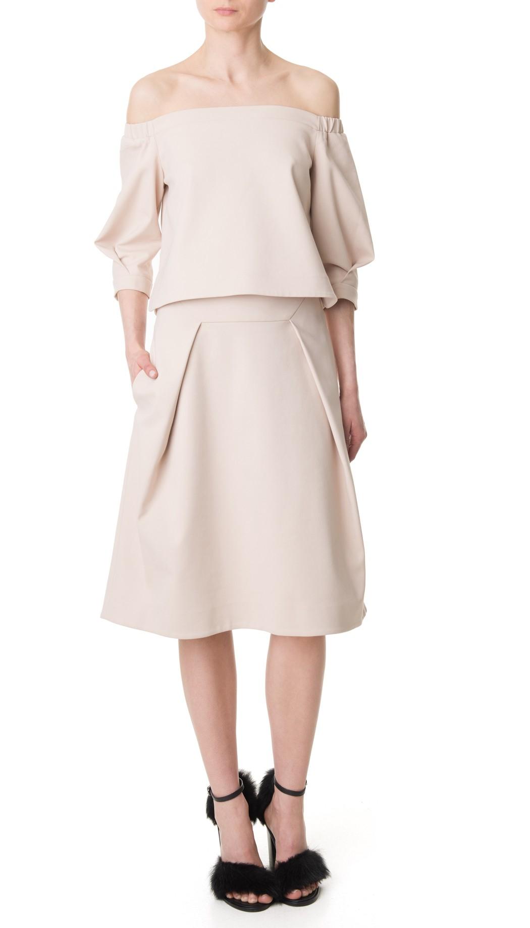 tibi agathe tucked pleating midi skirt in pink lyst