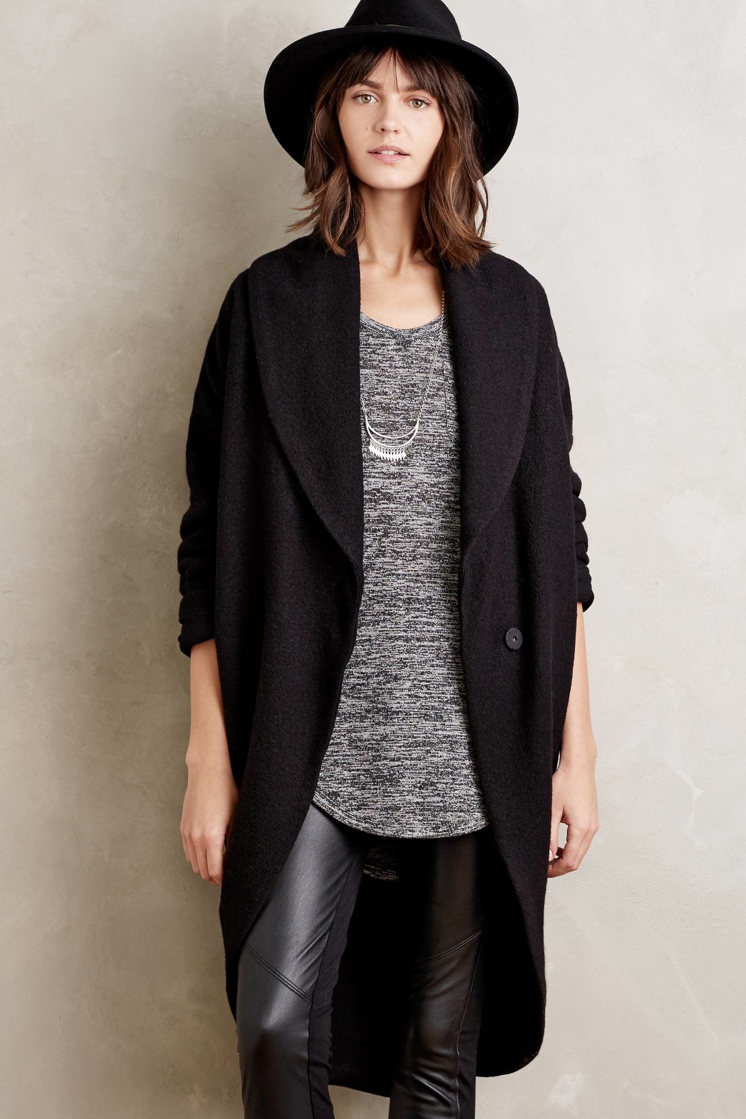 Moth Windsor Boiled Wool Sweater Coat in Black | Lyst