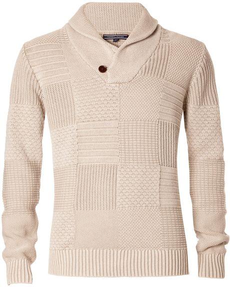tommy hilfiger baxter shawl neck jumper in beige for men lyst. Black Bedroom Furniture Sets. Home Design Ideas