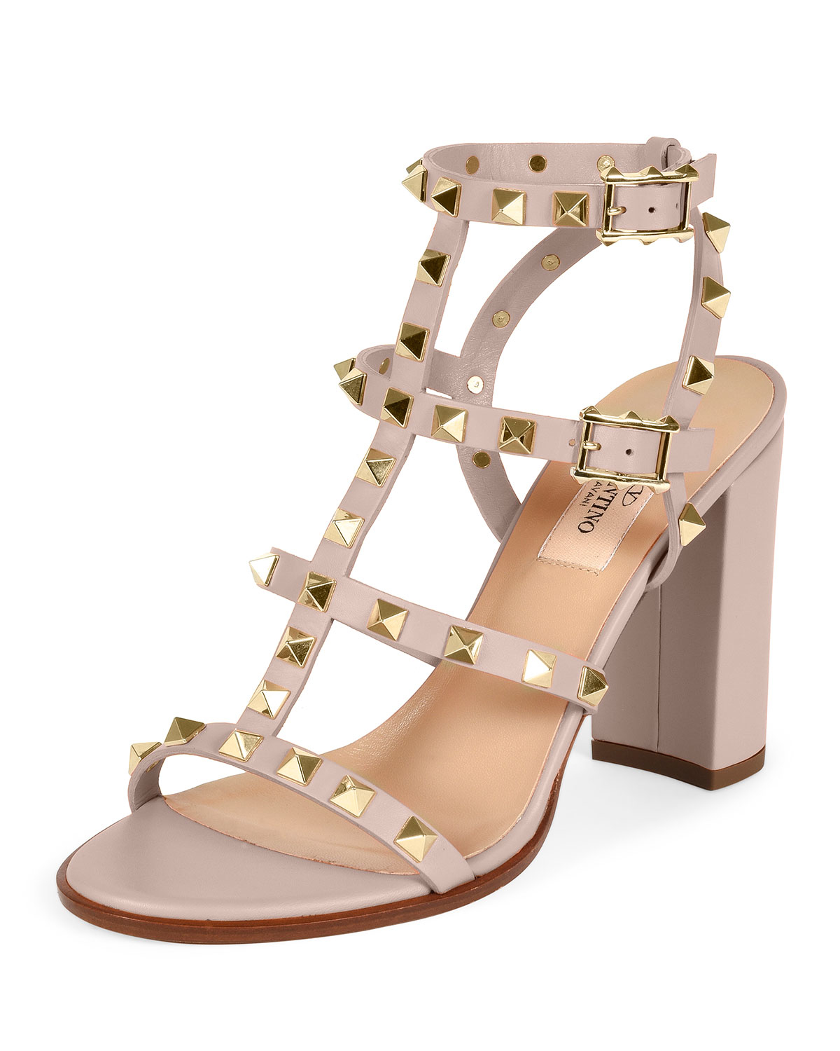 cd92d39f8a Valentino Rockstud Leather Block-heel Sandal in Natural - Lyst
