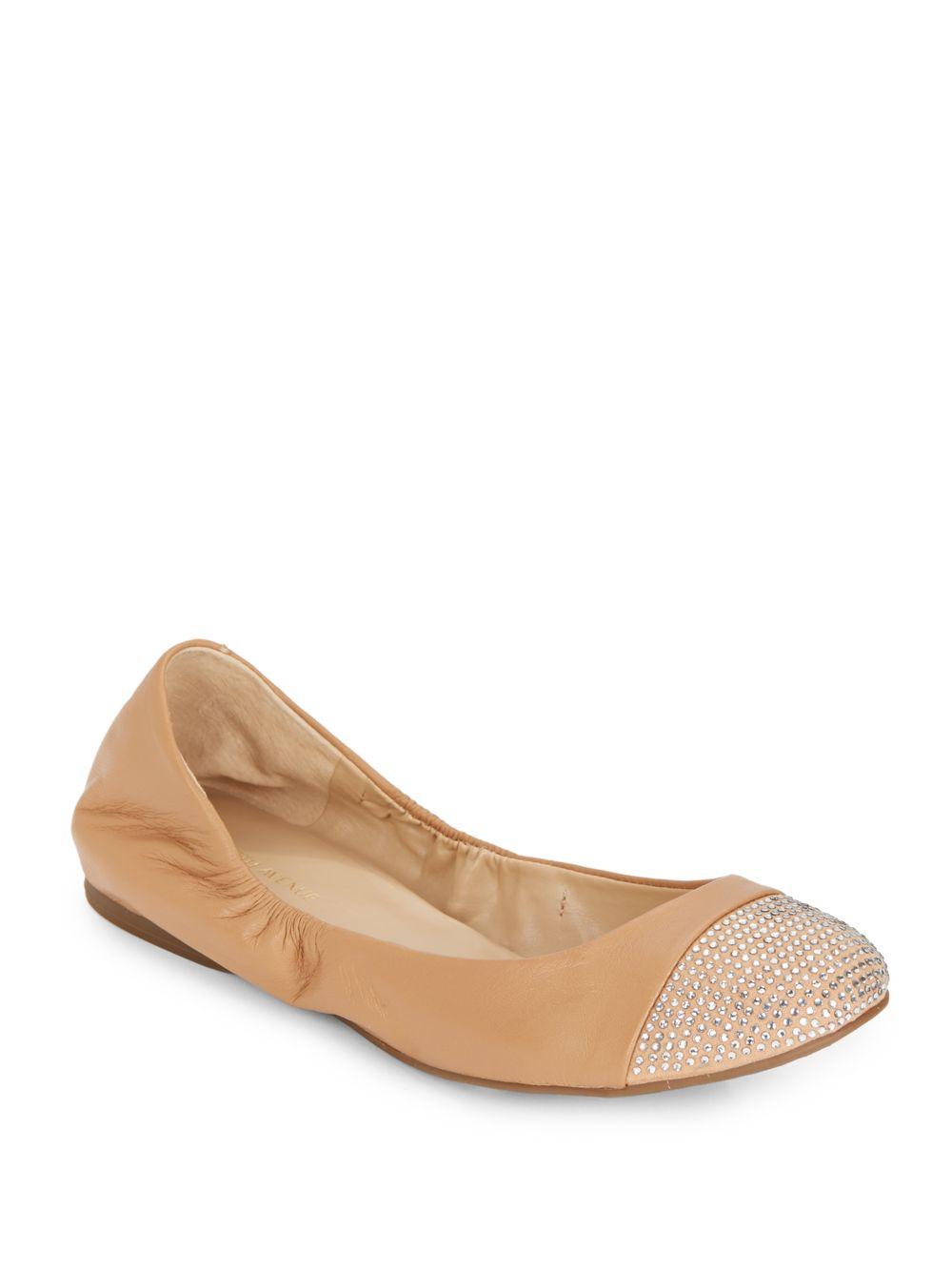 saks fifth avenue cacey embellished cap toe ballet flats