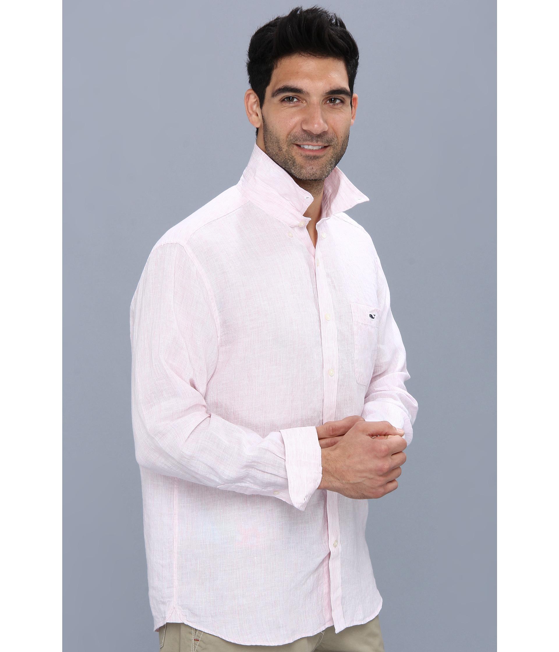 Vineyard vines Lake Worth Stripe Linen Shirt in Pink for Men   Lyst