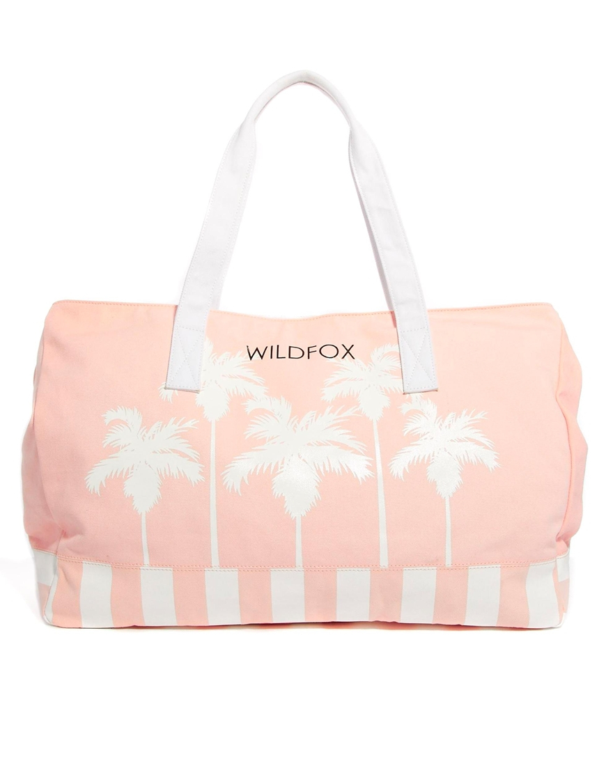 Wildfox Bel Air Palms Canvas Beach Bag in White | Lyst