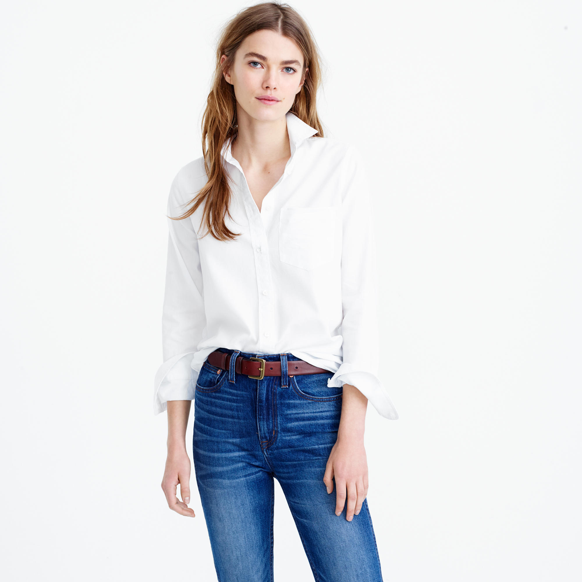 Boy shirt in cotton tencel oxford in white lyst for Jeans and shirt women