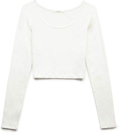 2c7c402c4d4f1c FOREVER 21 BASIC LONG SLEEVE CROP TOP IN WHITE