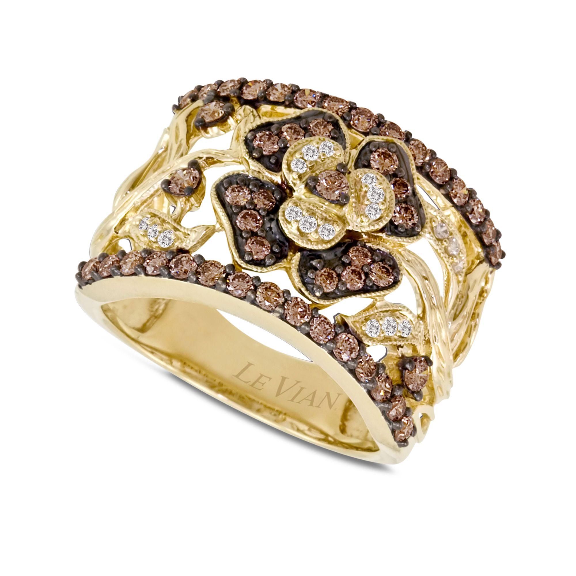 le vian chocolate diamond flower 1 ct t w in 14k gold. Black Bedroom Furniture Sets. Home Design Ideas