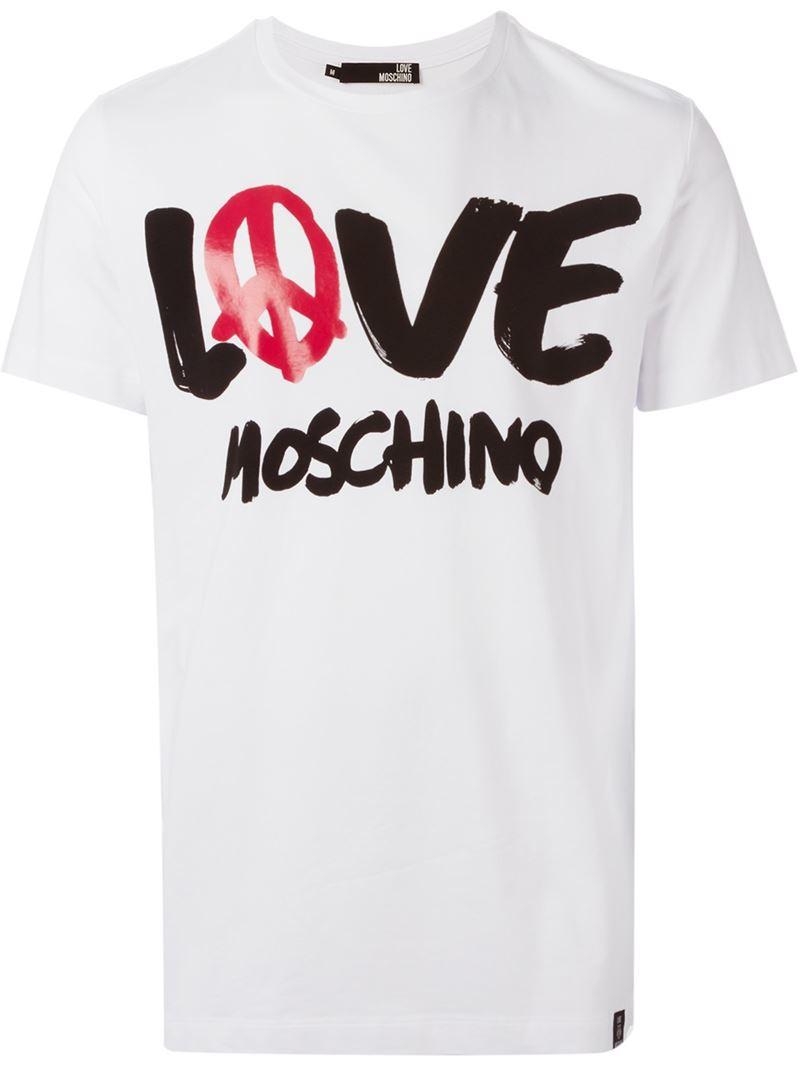 3601e7ebb58 Love Moschino Logo Print T-Shirt in White for Men - Lyst