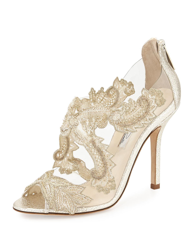 Oscar de la Renta Ambria Embroidered Metallic Peep Toe Sandals