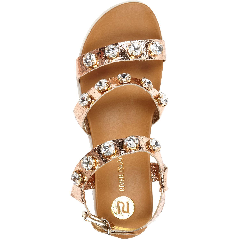 f13cd86fff8 River Island Gold Gem Stone Embellished Flatform Sandals in Metallic ...