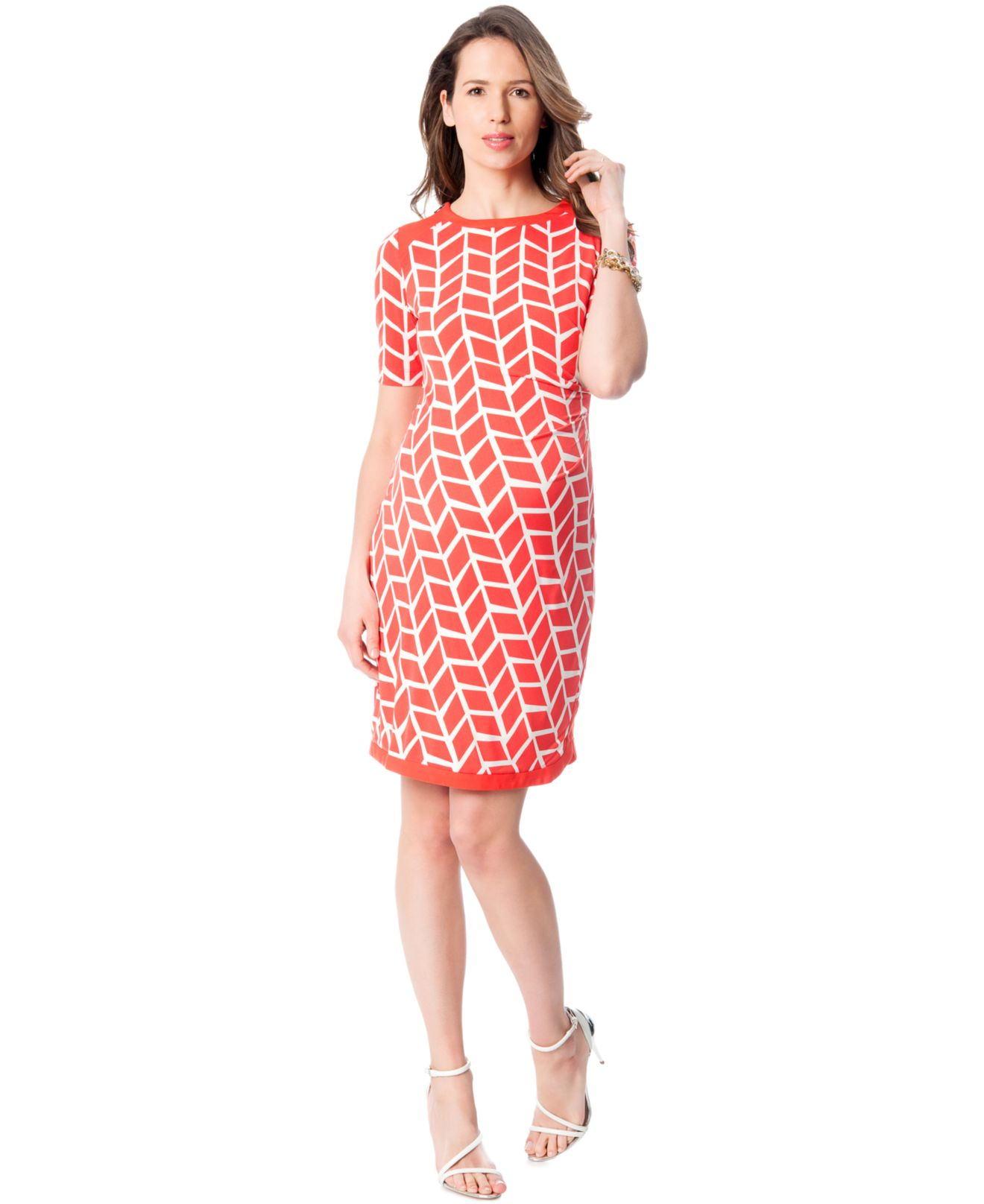 Donna morgan maternity print elbow sleeve dress in orange lyst gallery ombrellifo Gallery