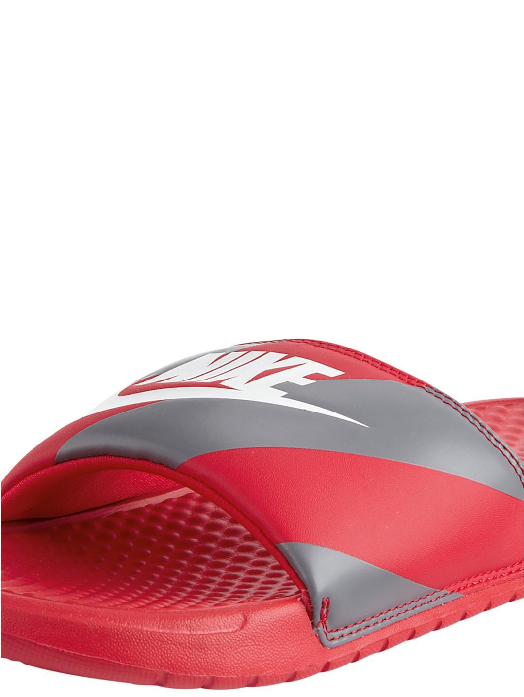 Nike Benassi Jdi Print Flip Flops In Red For Men Red Grey