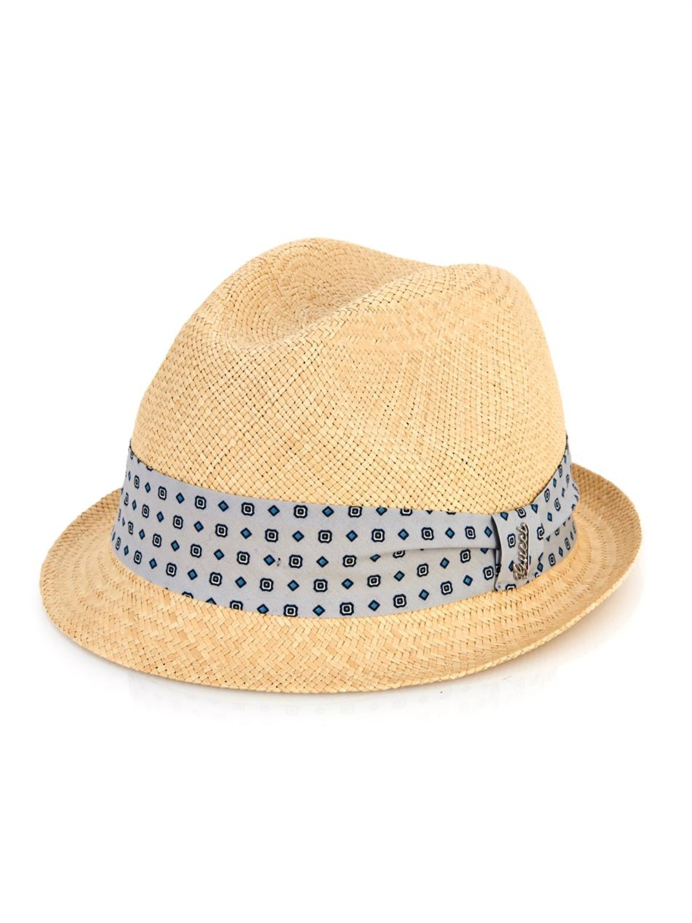 257259ff4ca1d Gucci Silk-Band Straw Trilby in Natural for Men - Lyst