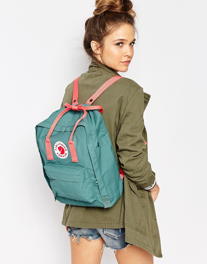 Fjallraven Classic Kanken In Green With Contrast Pink In