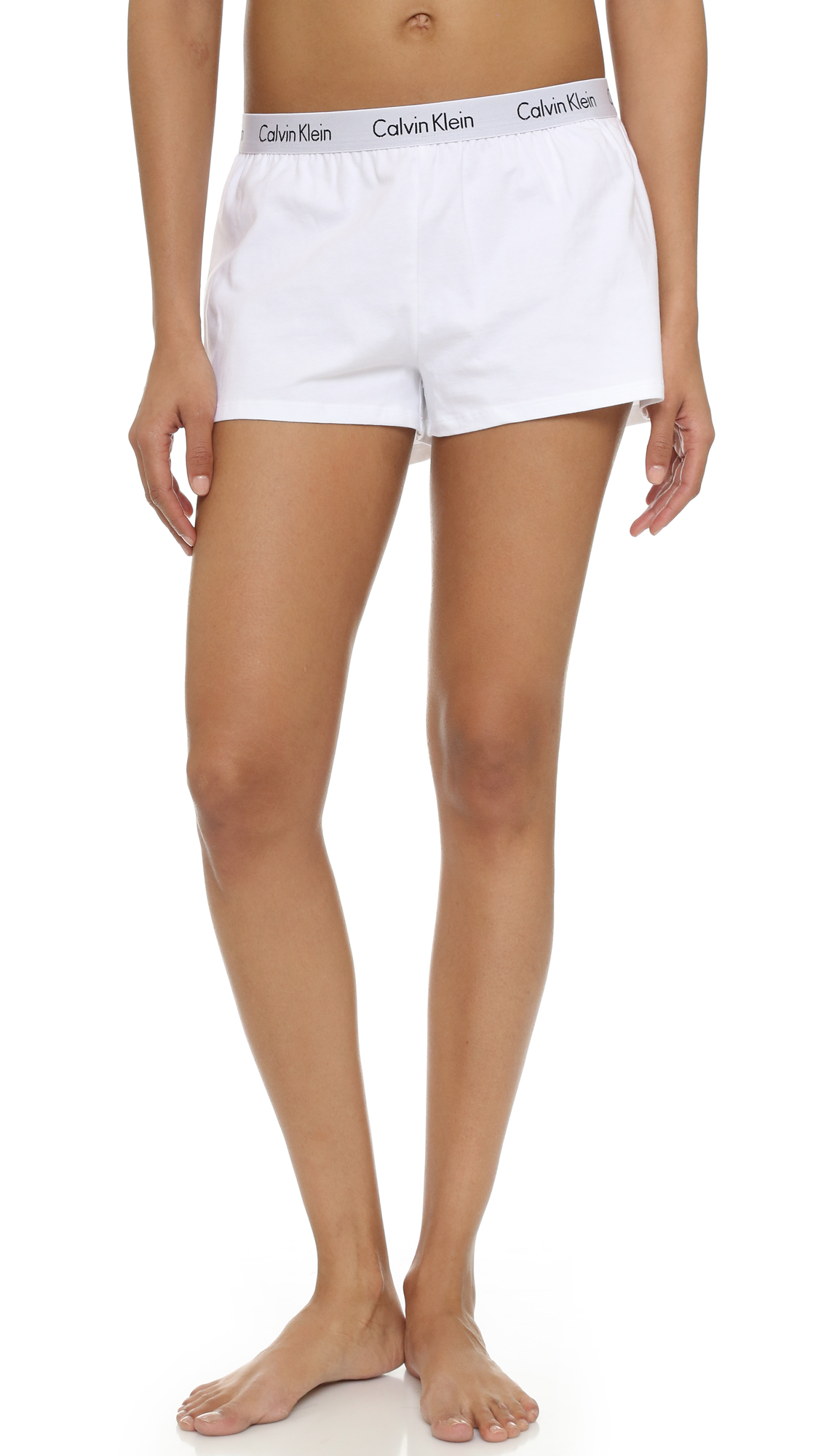 Lyst - Calvin Klein Logo Sleep Shorts in White 9ff79d216