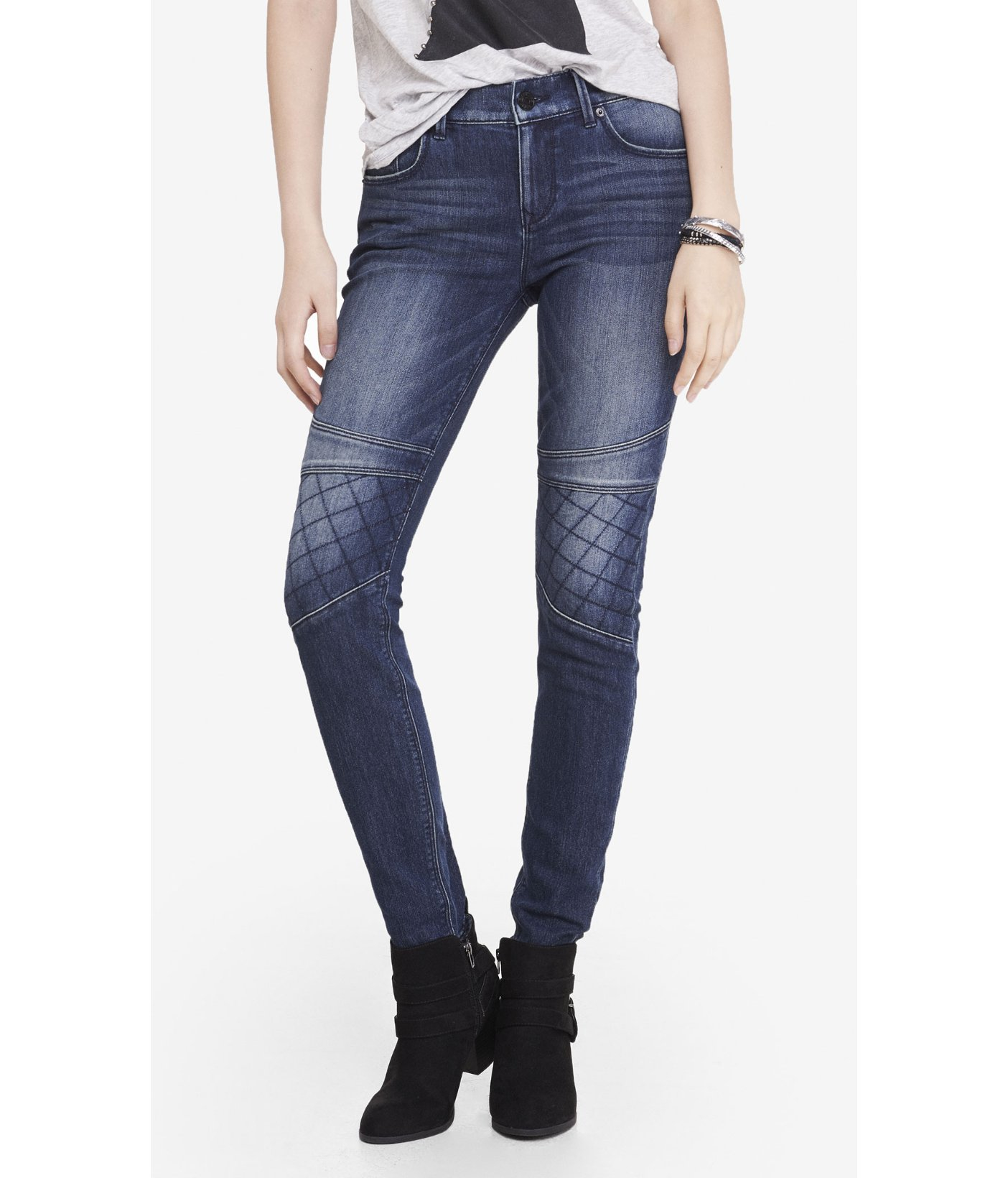 ac84458678 Express Quilted Moto Mid Rise Jean Legging in Blue - Lyst