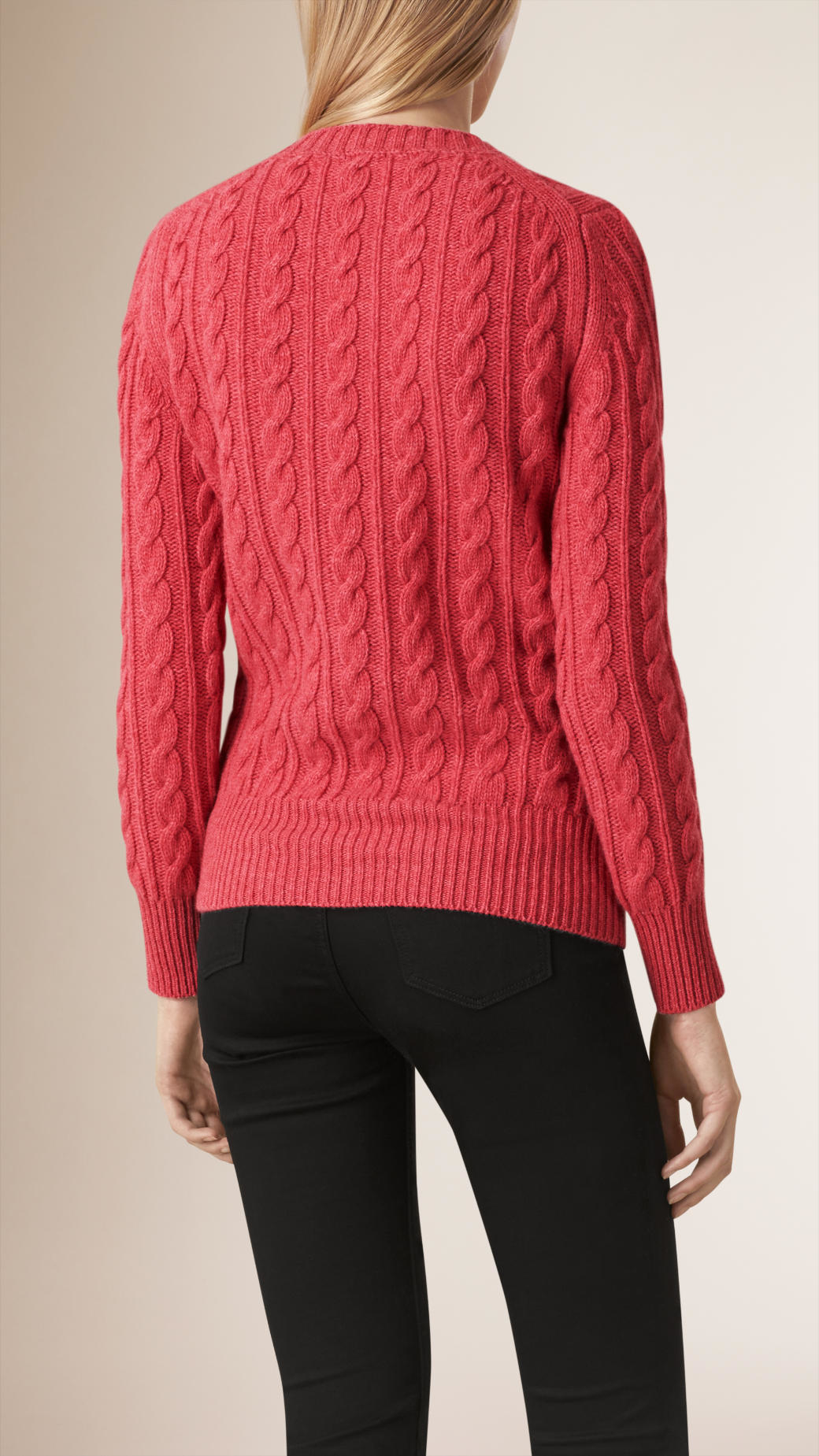 Burberry Cable Knit Wool Cashmere Sweater Hydrangea Pink in Pink ...
