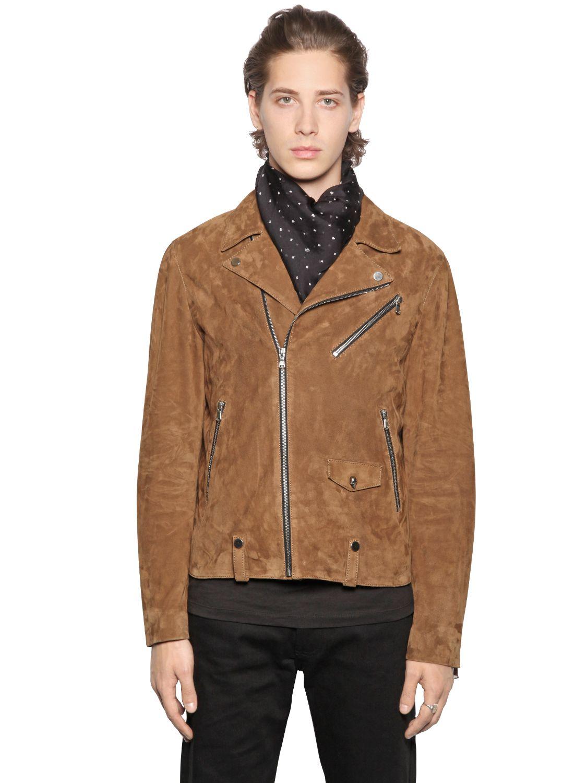 49142d64ee The Kooples Suede Biker Jacket in Brown for Men - Lyst