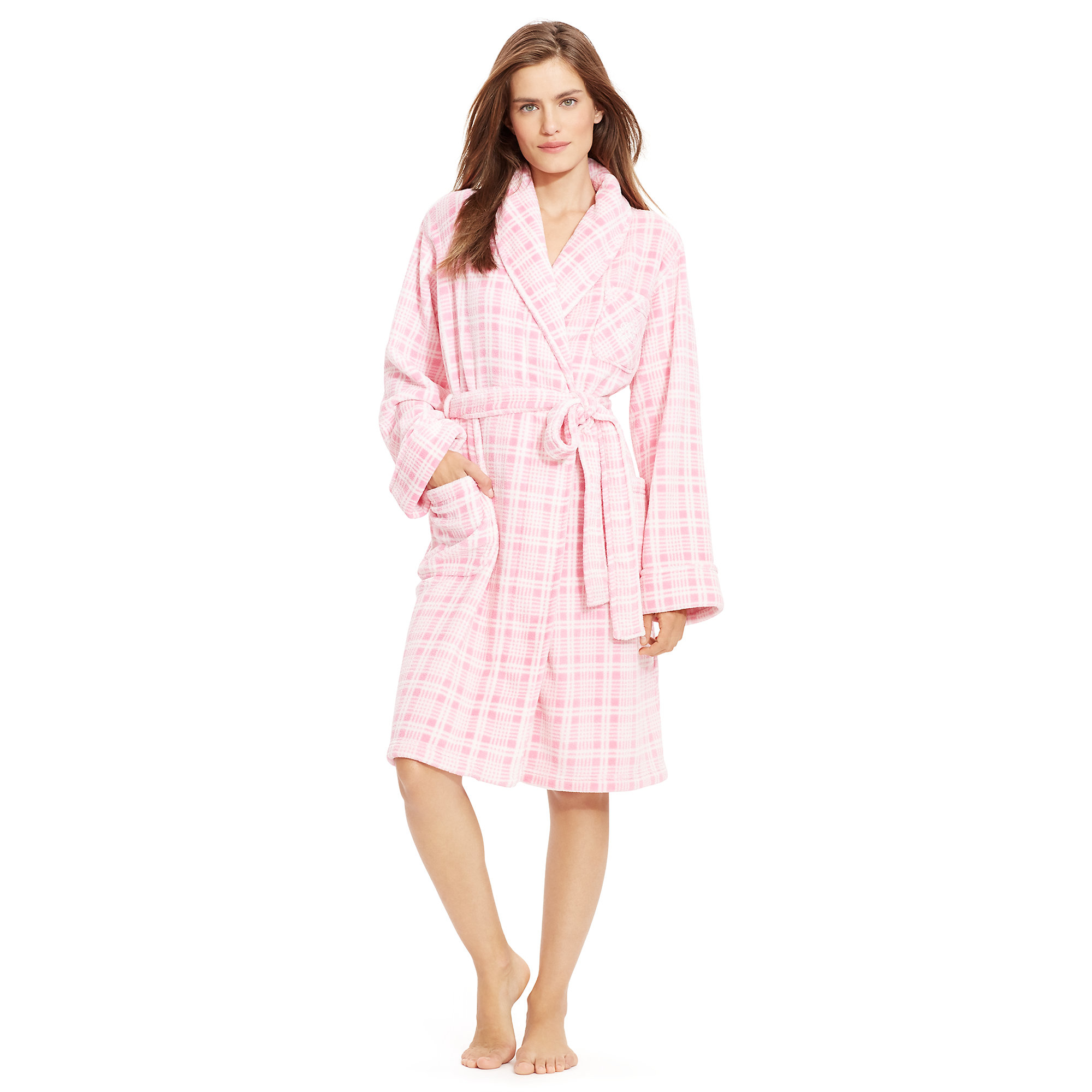 lyst ralph lauren plush shawl collar robe. Black Bedroom Furniture Sets. Home Design Ideas
