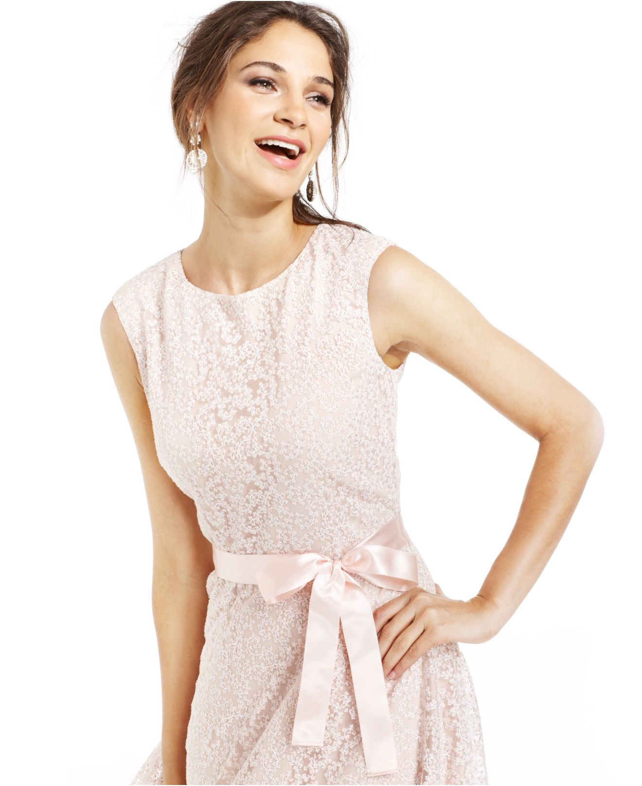 Lyst Tahari Tahari By Asl Glitter Lace Belted Dress In Natural
