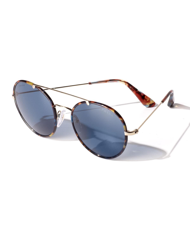 c4b0cadbd8 ... authentic lyst prada catwalk round aviator sunglasses in blue for men  fbdc6 ea2d5