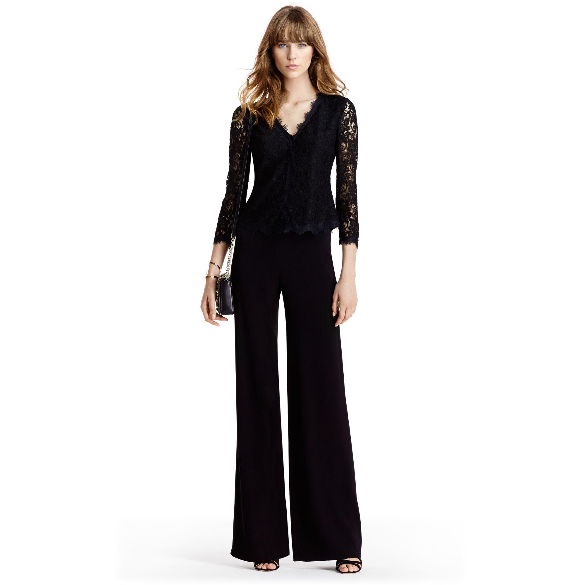 Diane von furstenberg Dvf Bria Lace Cardigan in Black | Lyst