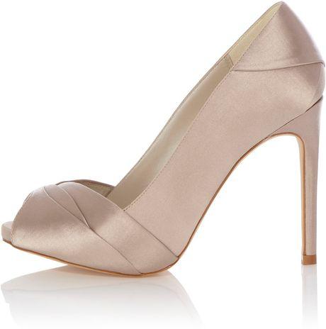 karen millen pleated satin peep toe shoe in white cream. Black Bedroom Furniture Sets. Home Design Ideas