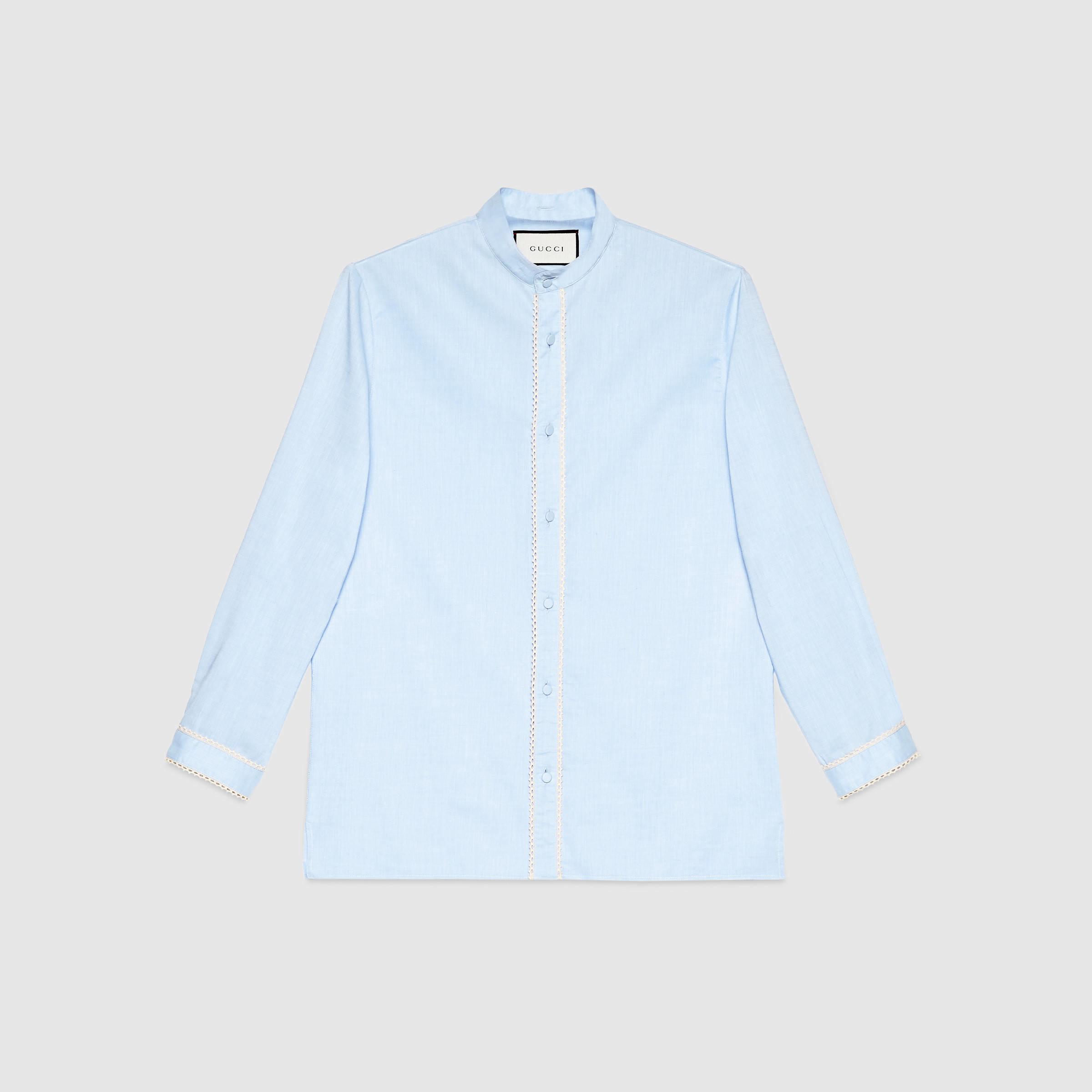 Lyst Gucci Detachable Collar Cambridge Shirt In Blue For Men