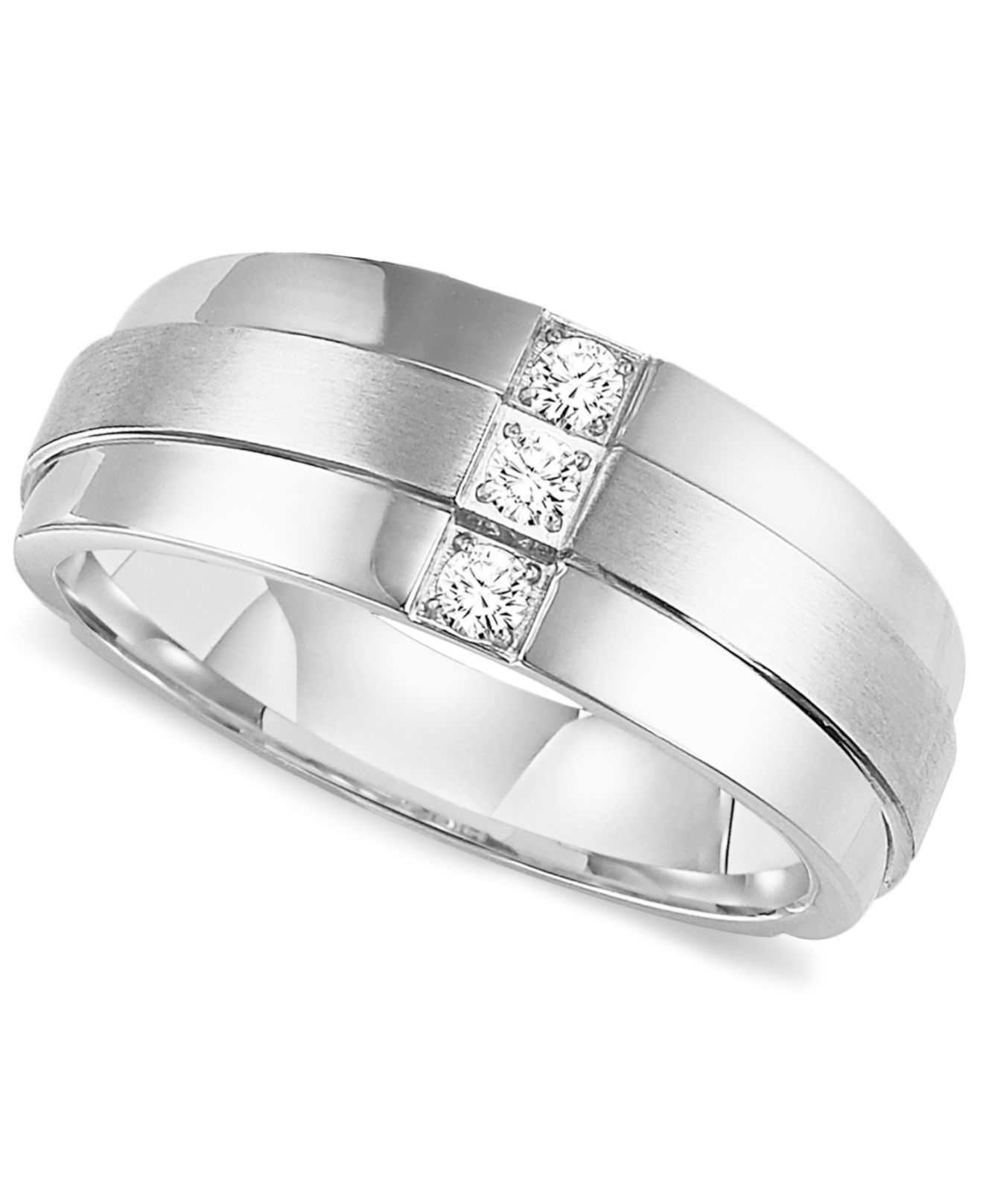 Triton men39s three stone diamond wedding band ring in for Mens wedding rings with stones