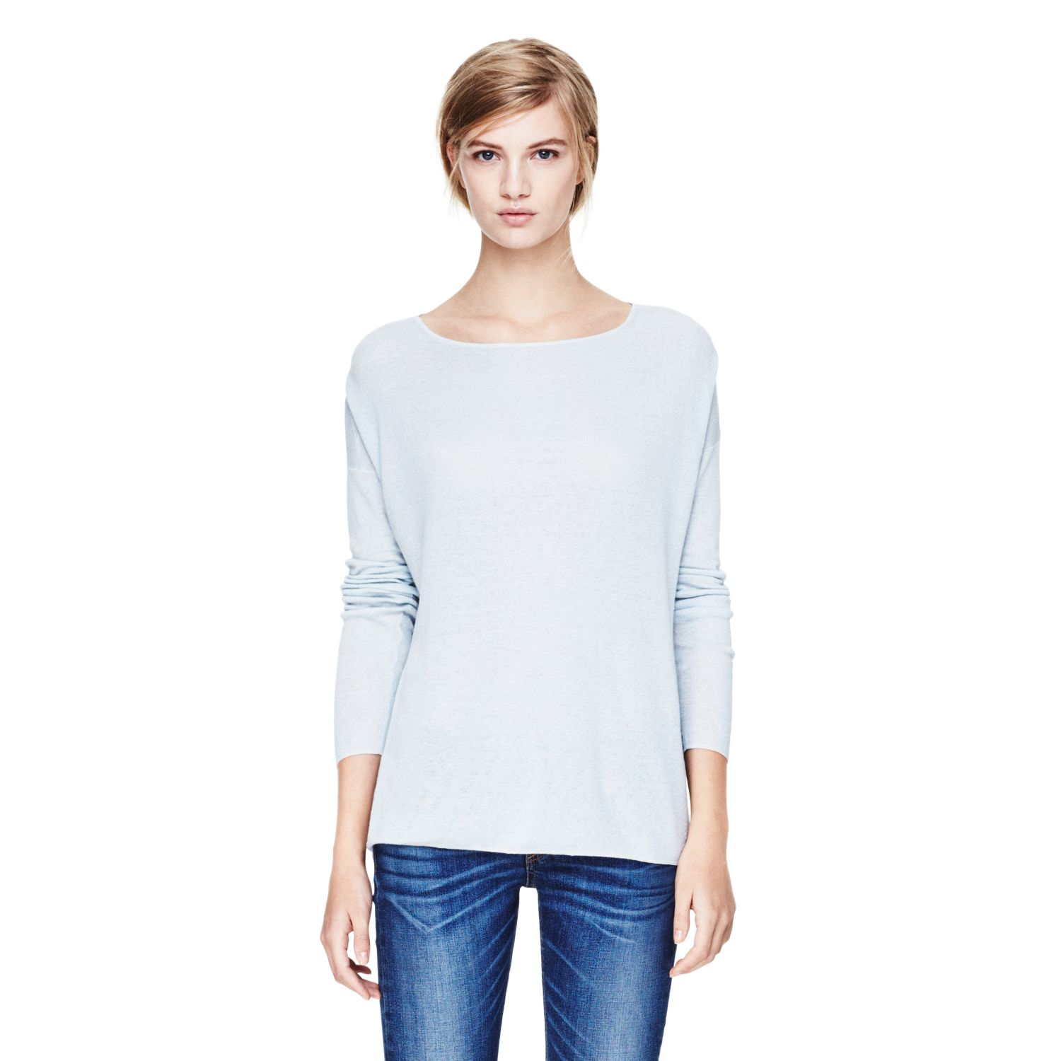 Theory Forestra Sweater in Sag Harbor in White (OPALESCENT