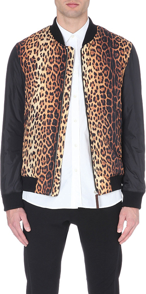 Moschino Black Leopard Print Shell Bomber Jacket in Black for Men ...