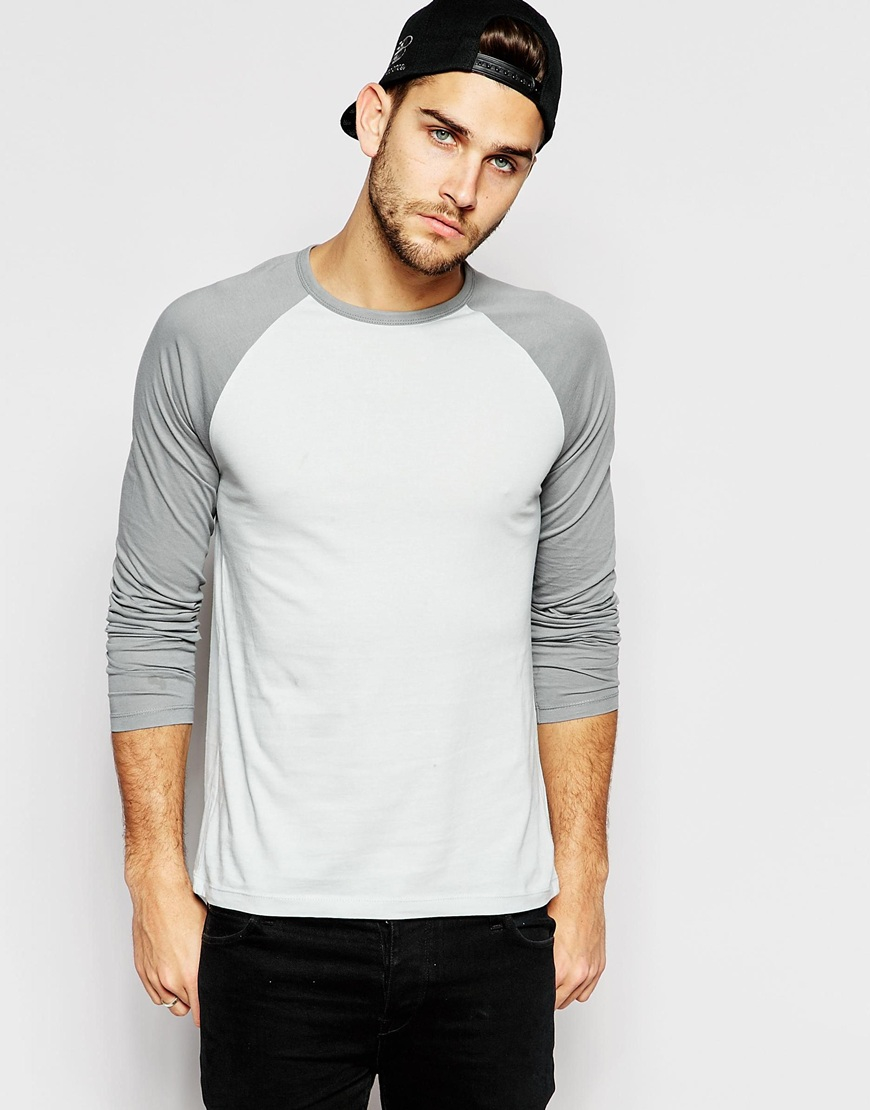 ASOS Tshirt with V Neck and Contrast Raglan Sleeves in ... |What Are Raglan Sleeves