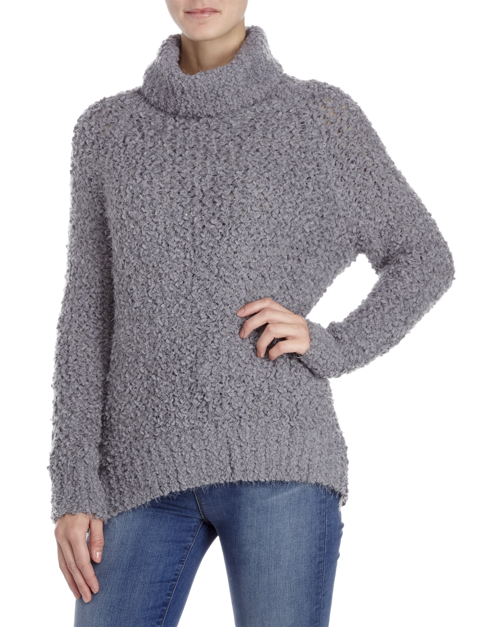 Pol Grey Turtleneck Chunky Knit Sweater in Gray | Lyst