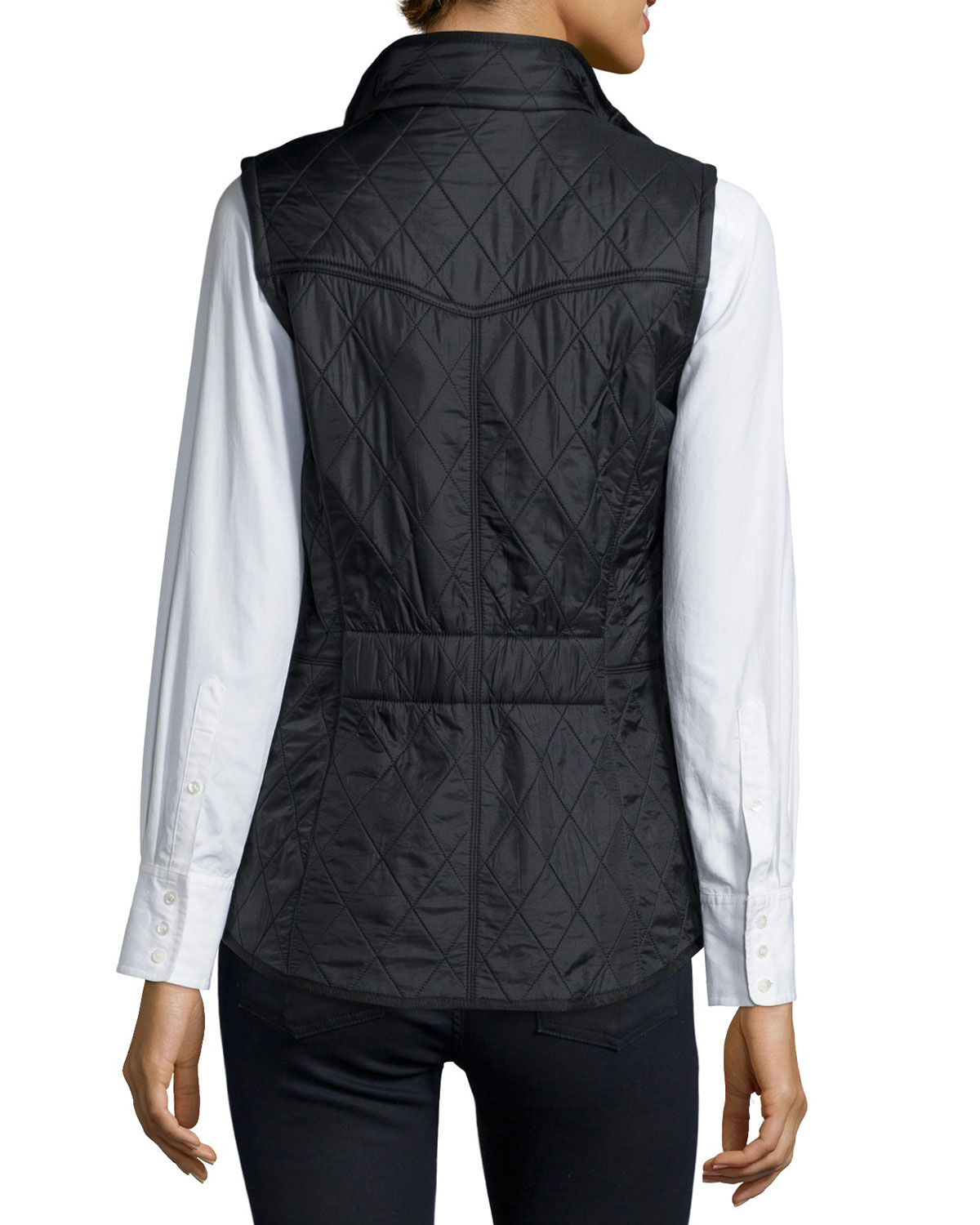 Barbour Diamond Quilted Sleeveless Vest In Black Lyst