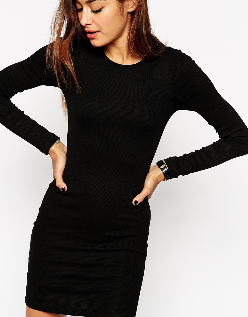 1c80233e27 ASOS Mini Bodycon Dress With Long Sleeves In Rib in Black - Lyst