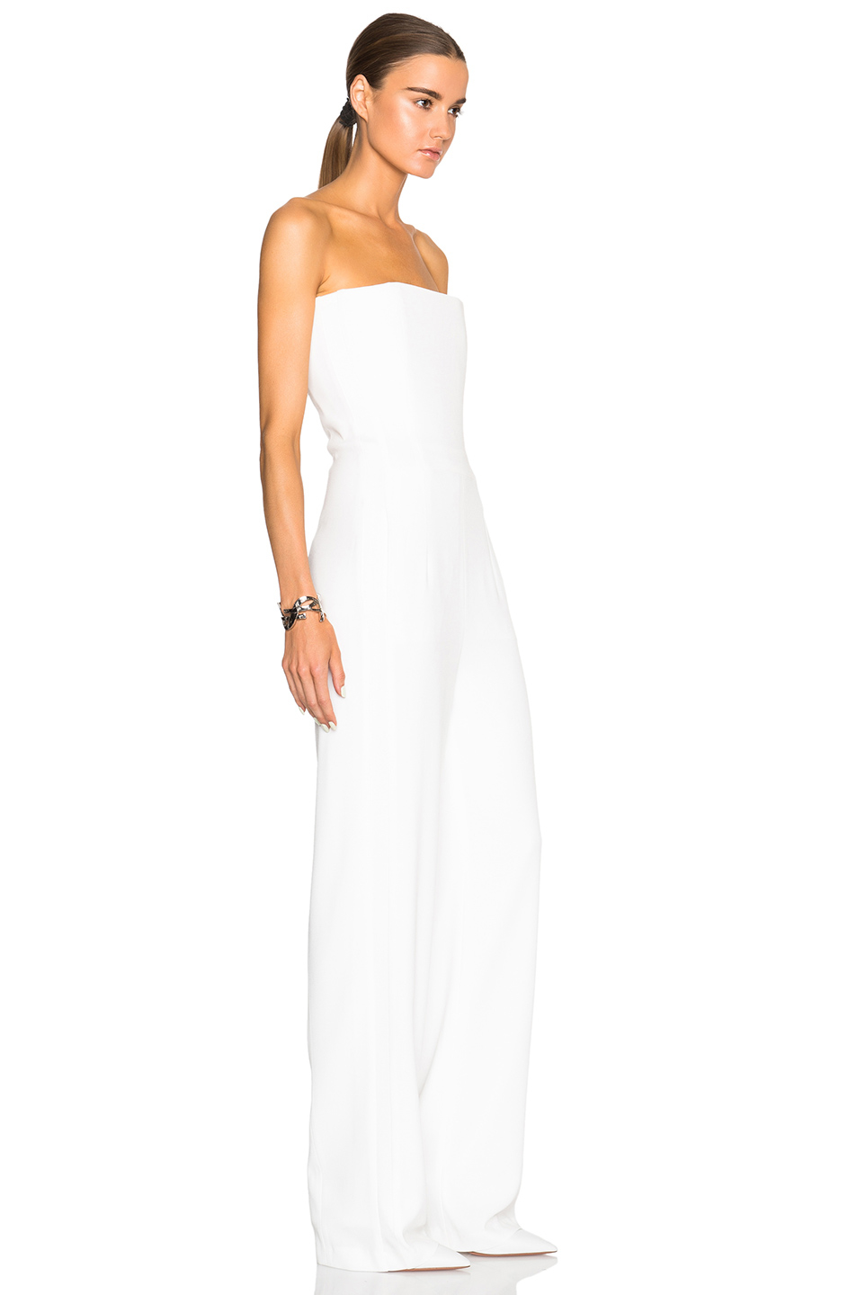 Galvan london Strapless Jumpsuit in White | Lyst