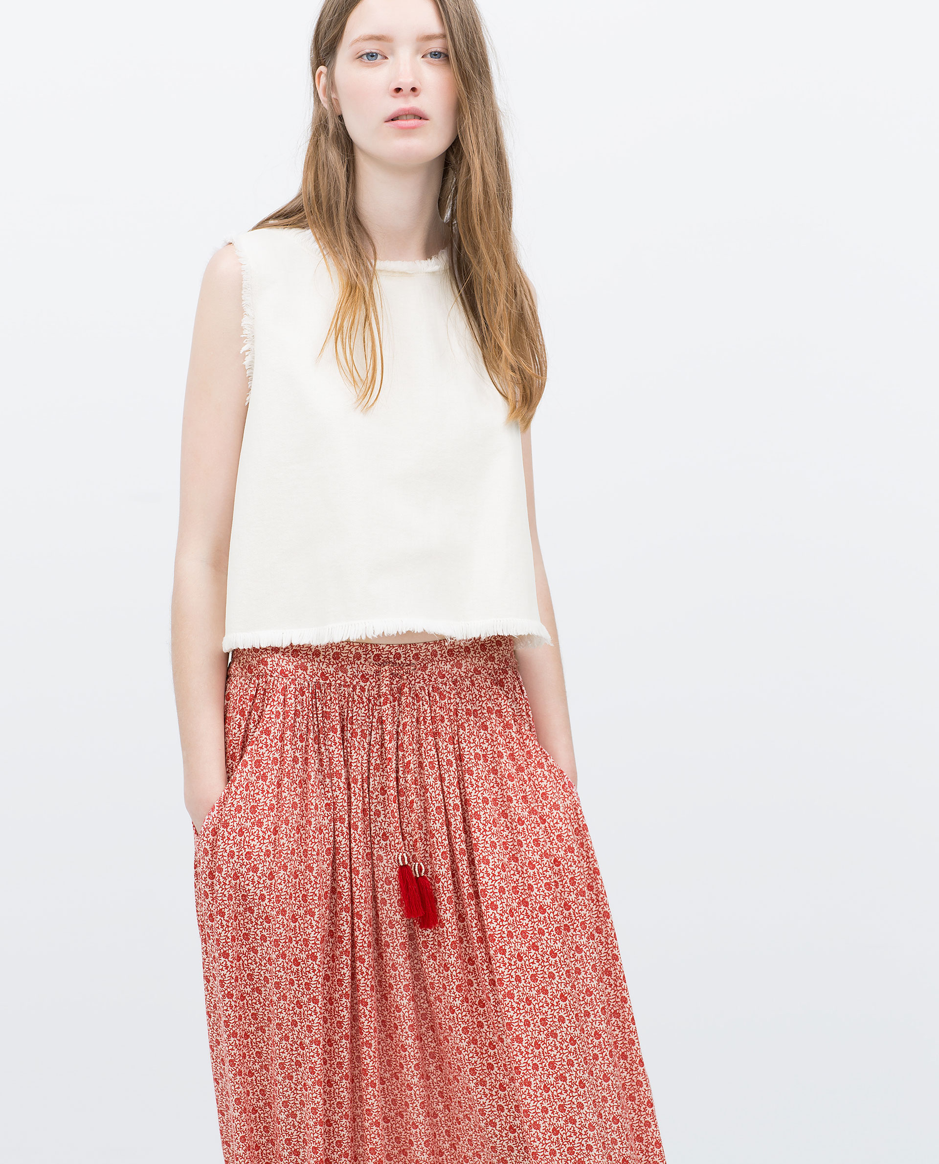 Zara Long Printed Skirt in Pink | Lyst