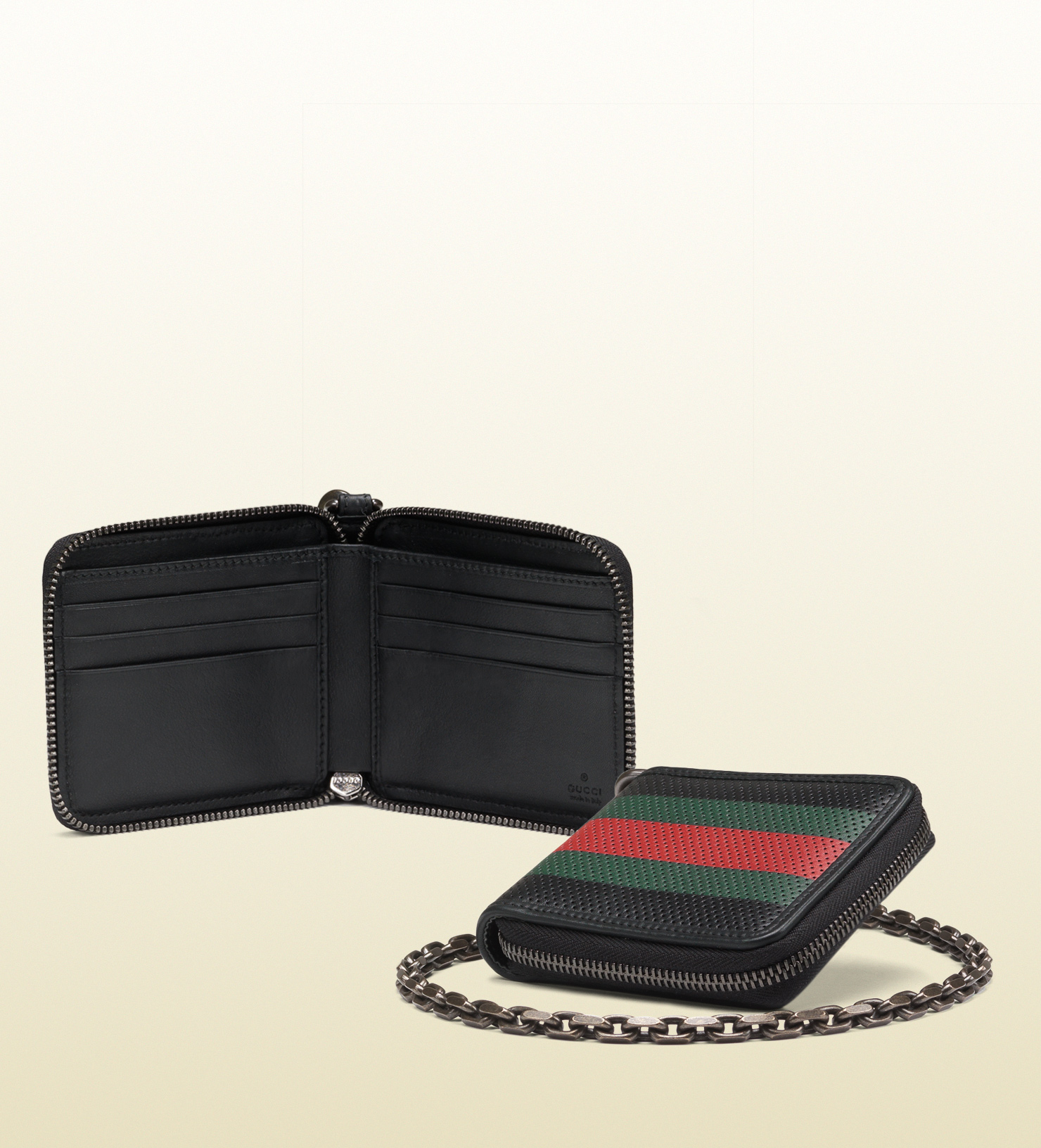 1006897a20c Gucci Perforated Leather Web Chain Wallet in Black for Men