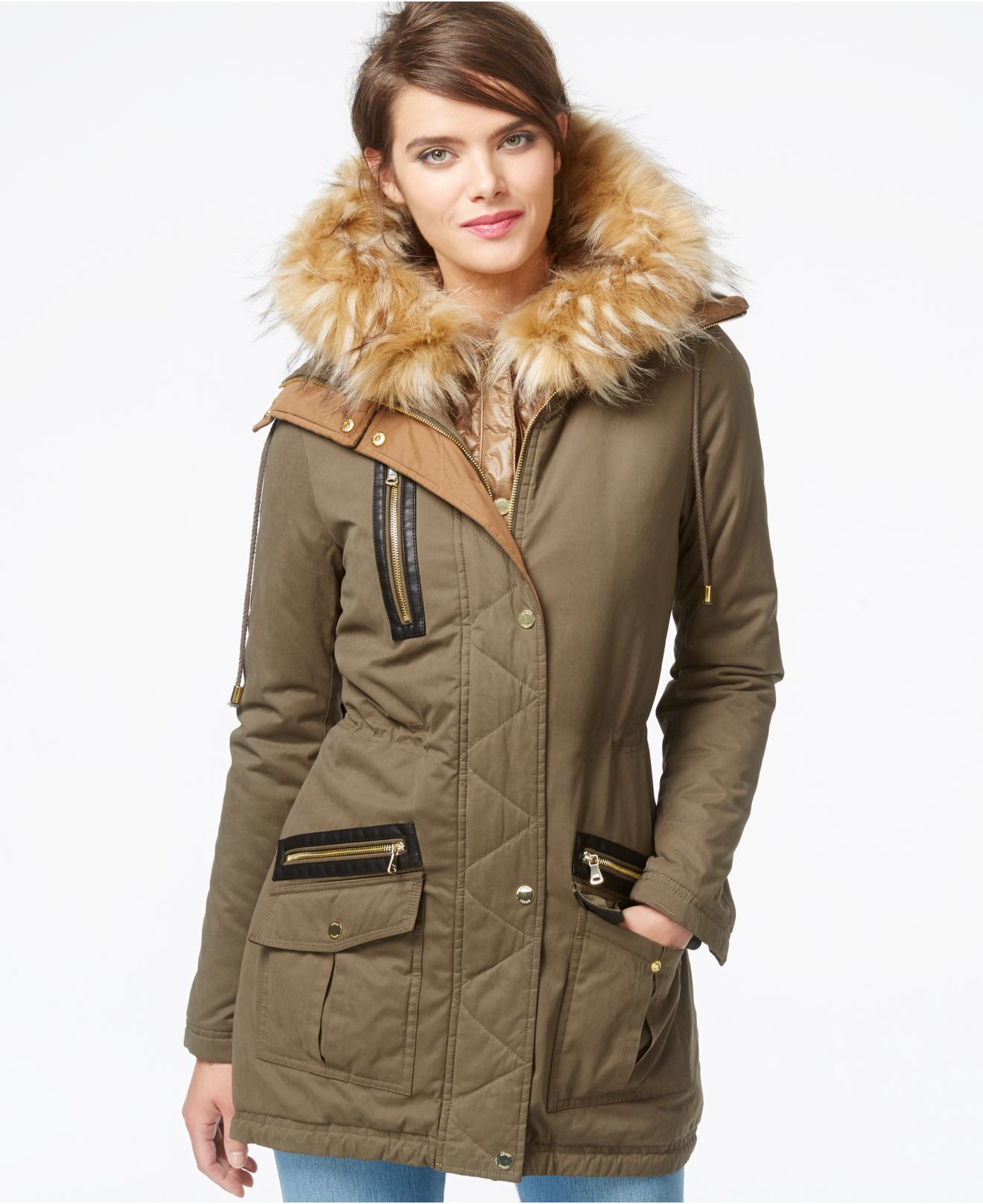 Guess Faux Fur Trim Mixed Media Parka In Green Lyst