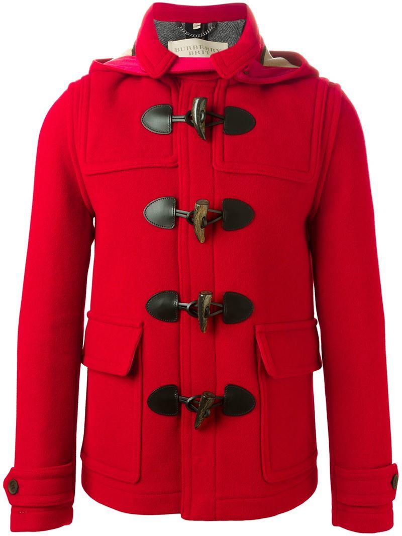 Burberry brit Short Duffle Coat in Red for Men | Lyst