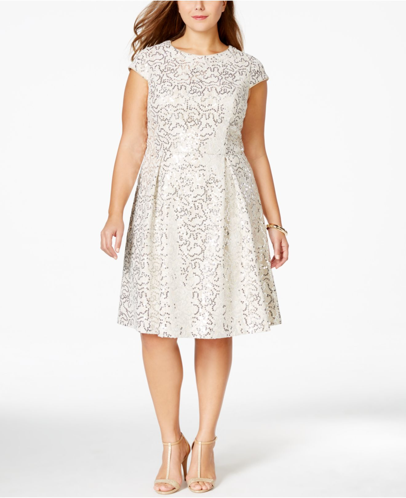 Calvin Klein Plus Size Sequined Flare Dress in White - Lyst