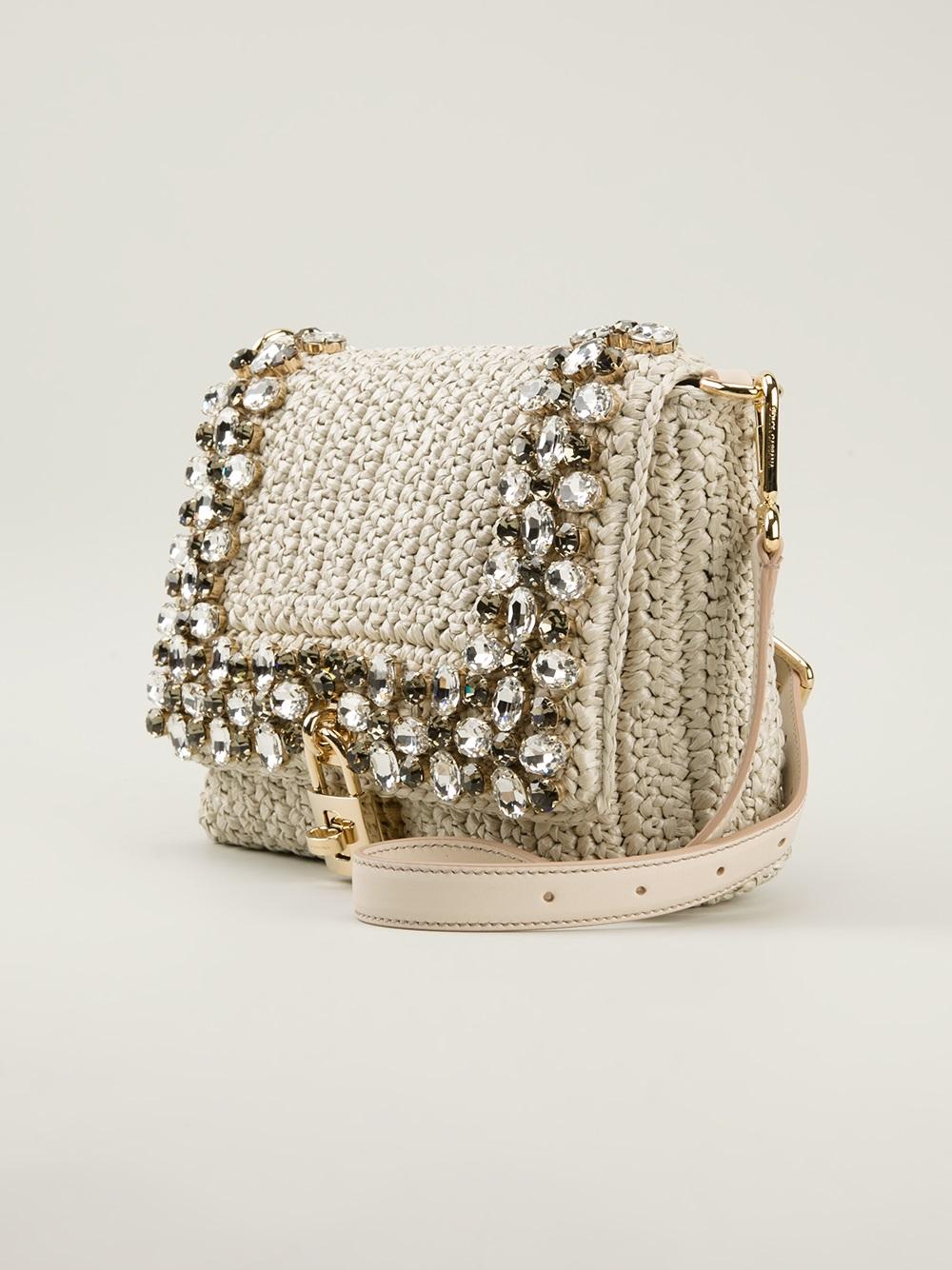Lyst - Dolce   Gabbana Crystal Embellished Raffia Shoulder Bag in ... 692c7622e85f9