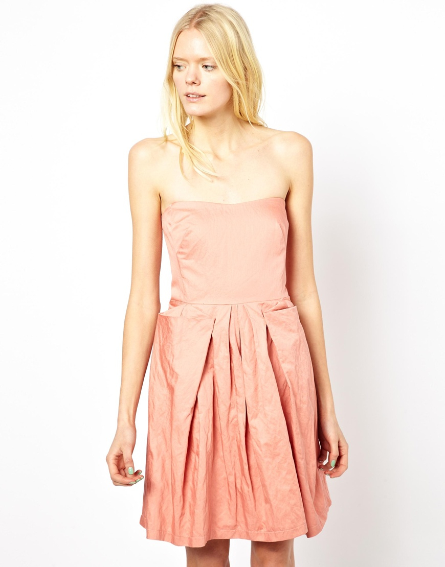 See by chloé Strapless Bustier Dress In Crushed Cotton in Pink - Lyst
