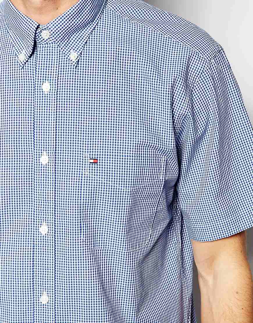 Lyst tommy hilfiger shirt with micro gingham check short for Tommy hilfiger gingham dress shirt