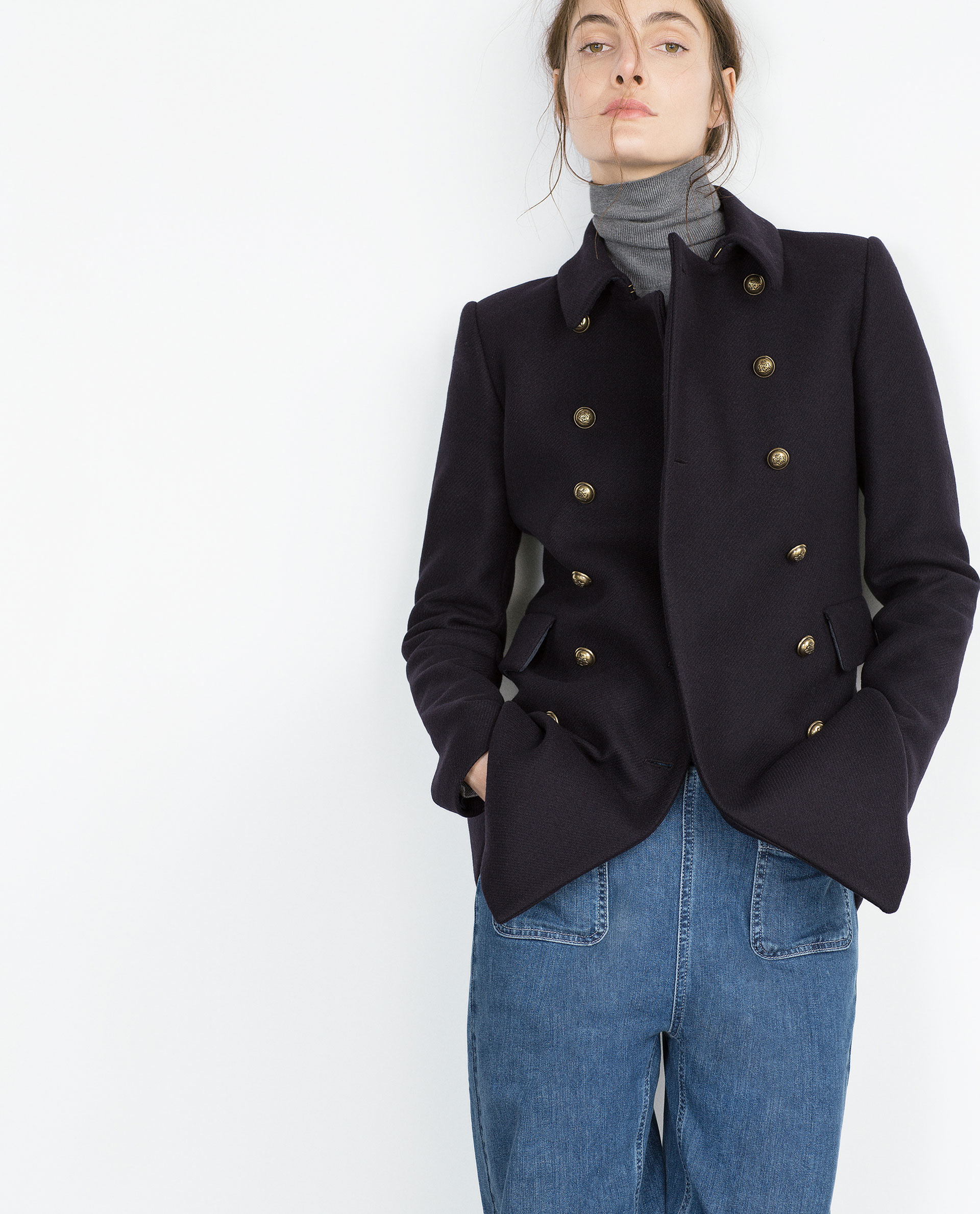 Short navy coat – Novelties of modern fashion photo blog